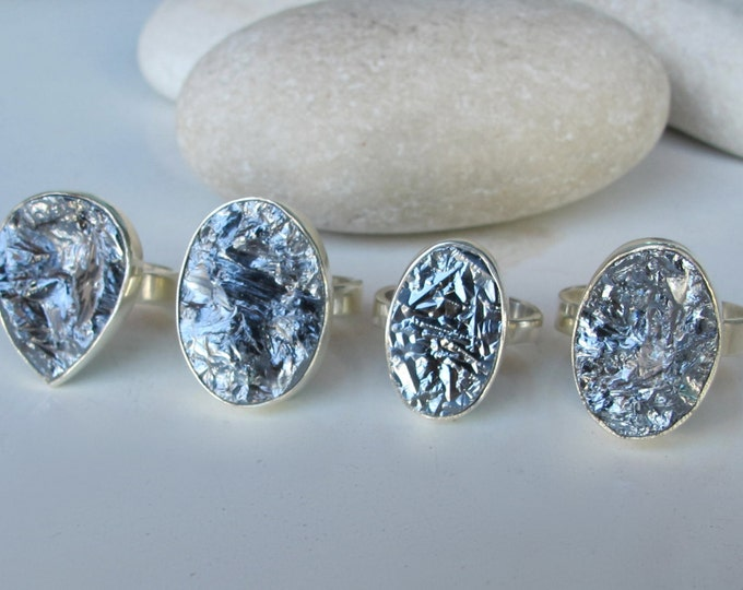 Raw Metallic Statement Ring- Rustic Solitaire Pyrite Ring- Rough Concrete Ring- Silver Unique Stone Ring- Rustic Texture Unisex Men Ring