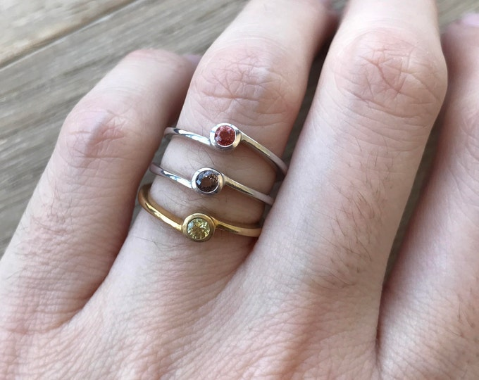 Small Sapphire Promise Ring- Tiny Stackable Sapphire Ring- September Birthstone Ring- Handmade Dainty Ring- Minimalist Boho Ring