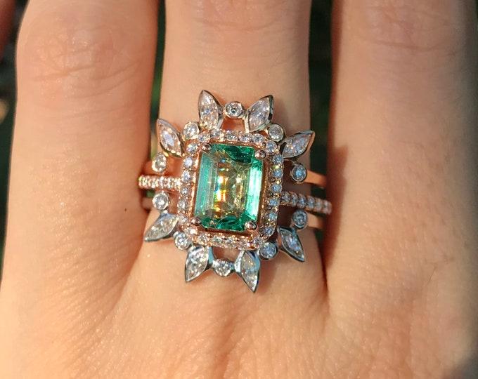 1.35ct Genuine Emerald Halo Engagement Ring Set- 14k Large Emerald Diamond Bridal Ring Set- Natural Rectangle Emerald Halo 3 or 2 Ring Set