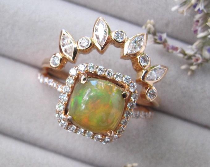 Fiery Yellow Opal Bridal Ring Set- Rose Gold Opal Engagement 2 Ring Set- Cabochon Genuine Opal Diamond Halo Wedding Ring Set- October Ring