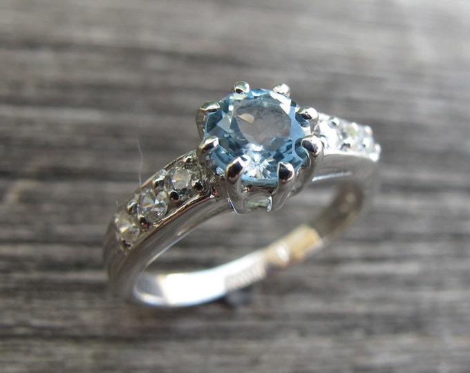 Blue Topaz Solitaire Engagement Ring- Round Blue Stone Promise Ring- December Birthstone Ring- 8 Prong Ring-Genuine Topaz Anniversary Ring