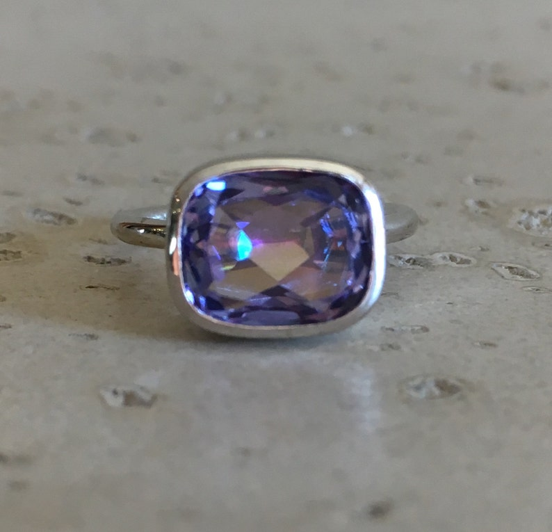 Unique Gemstone Ring Solitaire Blue Purple Statement Ring Neptune Garden Topaz Ring Rectangle Mystic Topaz Ring East West Gemstone Ring