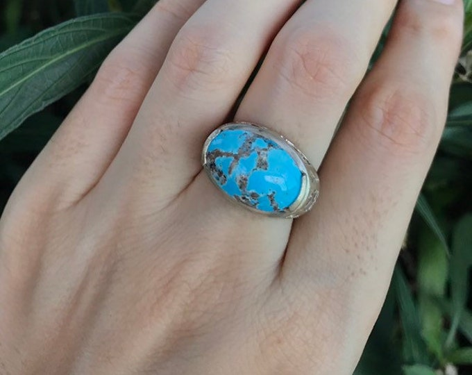 Oval Turquoise Filigree Statement Ring- East West Turquoise Engagement Ring- Smooth Blue Gemstone Solitaire Ring- December Birthstone Ring