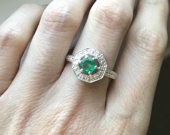 Emerald Engagement Octagon Ring- Halo Emerald Promise Ring- Green Gemstone Engagement Ring- Sterling Silver Emerald Ring-May Birthstone Ring