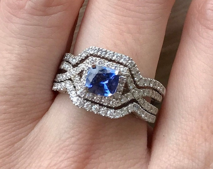 Deco Halo Sapphire Engagement Ring Set- Square Blue Sapphire Engagement Ring- Princess Three Bridal Ring Set- Genuine Natural Sapphire Ring