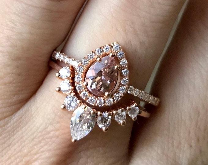 Pear Morganite Promise Ring- Genuine Morganite Engagement Ring- Natural Teardrop Morganite Ring Set- Classic Halo Morganite Ring-