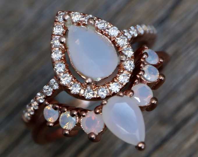 Teardrop White Opal Stone Bridal Ring Set- Pear White Gem Engagement 2 Ring Set- Chalcedony Halo Sterling Silver Ring w/ Wedding Band