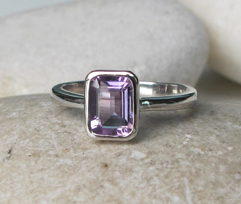 Purple Small Stone Ring-Teen Child Dainty Ring-Sterling Silver Baguette Ring February Birthstone Ring Purple Amethyst Rectangle Stack Ring