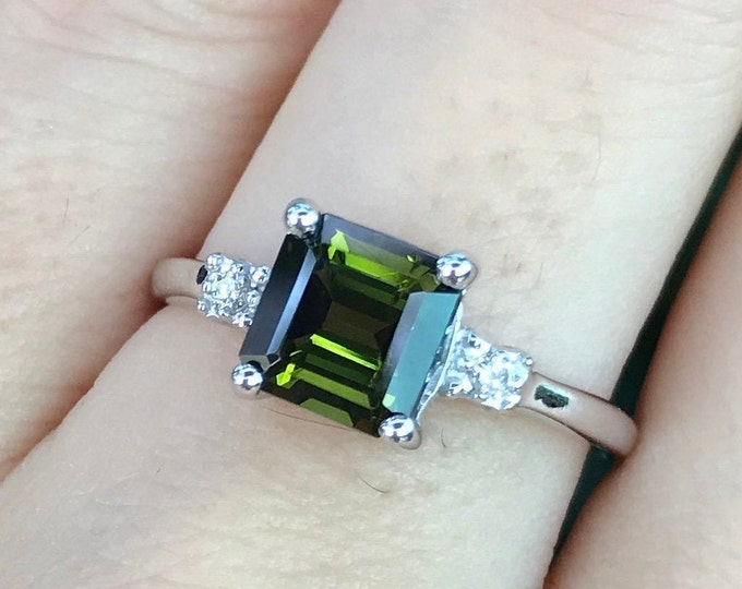 1.65ct Green Tourmaline Engagement Ring- Princess Tourmaline Promise Ring for Her-Three Stone White Gold Ring-