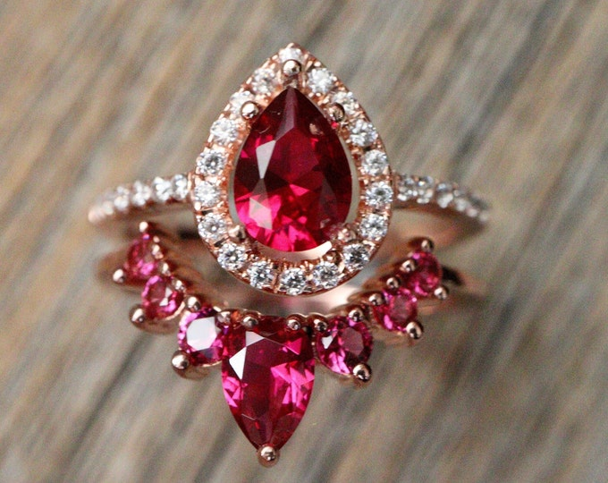 Teardrop Red Ruby Bridal Ring Set- Pear Red Gemstone Engagement 2 Ring Set- Pinkish Red Halo Ring with Curved Wedding Band- July Stone Ring