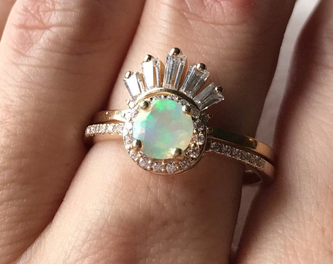 Genuine Opal Engagement Deco 2 Ring Set- Natural Opal Halo Ring with Baguette Wedding Band- Round Rainbow Opal Bridal Rings