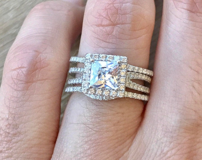 0.75ct Diamond Simulant Princess Engagement Ring Set- Colorless Square Bridal Ring Set- 3 Piece Wedding Ring Set- Halo Clear Engagement Ring