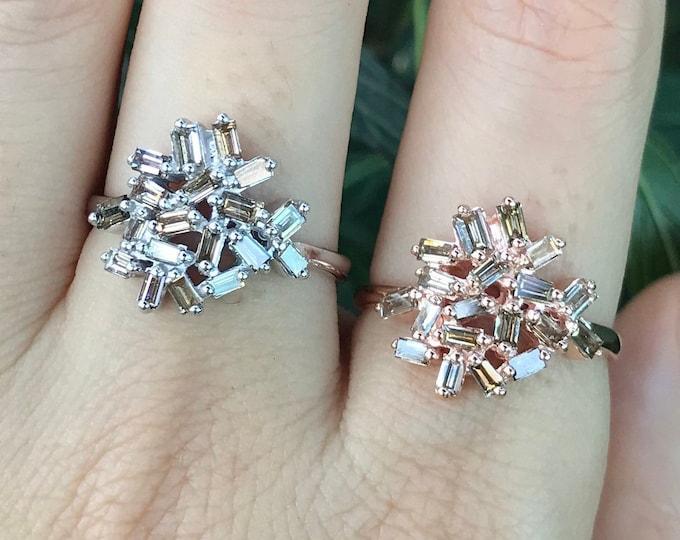 Cluster Champagne Baguette Diamond Solitaire Celestial Ring- Art Deco Multistone Diamond Galaxy Statement Ring-Brown Diamond Rose White Ring