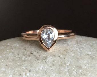 White Sapphire Promise Ring- Rose Gold Engagement Ring- Alternative Diamond Engagement Ring- September Birthstone Ring- 14k Anniversry Ring