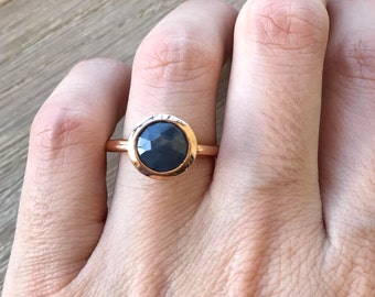 Blue Raw Sapphire Promise Ring- Rose Gold Promise Ring- Raw Engagement Ring- Rough Stone Blue Stack Ring-Blue Gemstone Alternative Ring