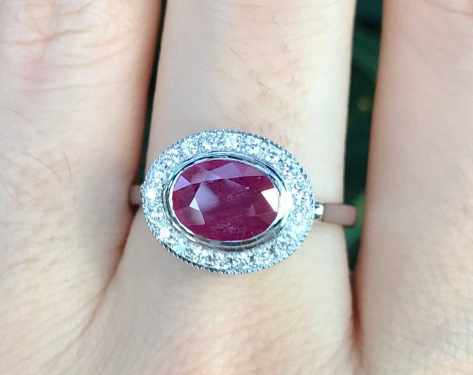 Genuine 1.25ct Ruby Oval White Gold Engagement Ring- Natural Ruby Halo Solitaire Promise Ring- Ruby Diamond Anniversary Ring- July Ring