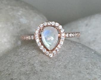 Rainbow Moonstone Engagement Ring- Rose Gold Wedding Ring- Moonstone Promise Halo Ring- June Birthstone Ring- Solitaire Gemstone Ring