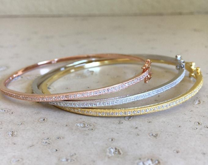 Cubic Zirconia Bangle- Rose Gold Bracelet- Layering Bangle Bracelet- Stackable Thin Bracelet- Boho Chic Bracelet