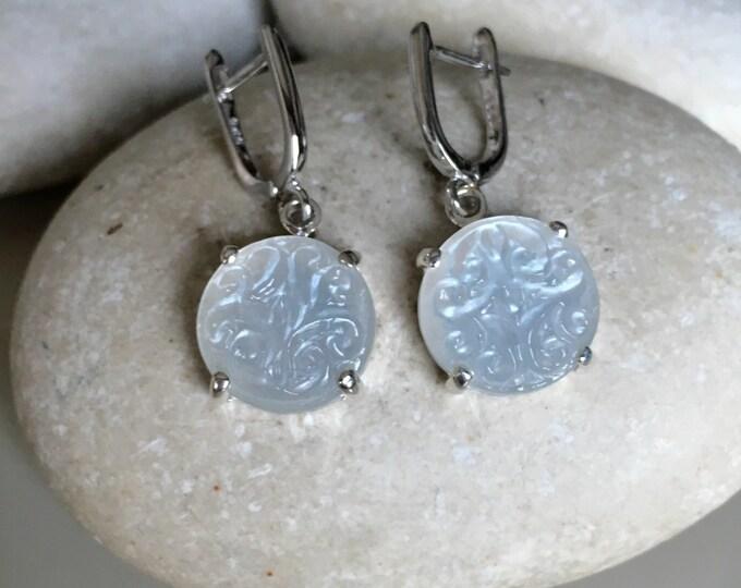 Statement Moonstone Bridal Earring- Wedding Engagement Stone Earring- June Birthstone Earring- White Moonstone Earring- Classic Earrings