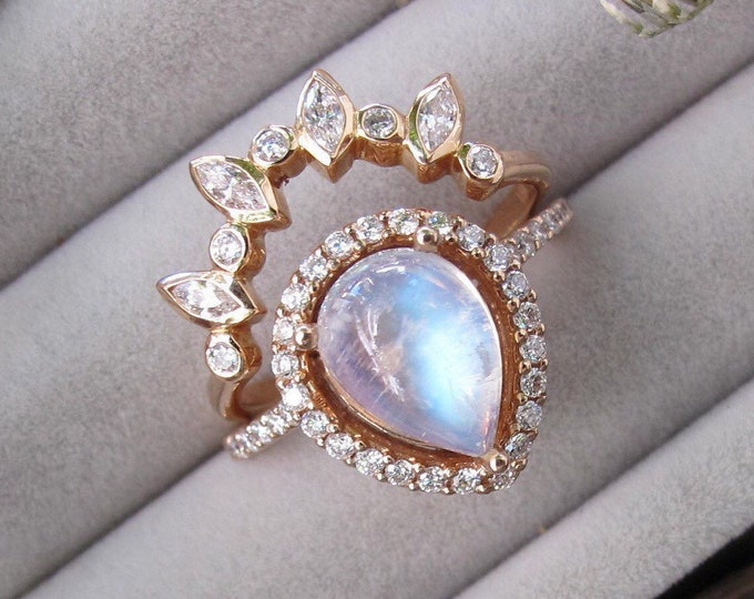 2ct Large Genuine Moonstone Halo Bridal Ring Set- Teardrop Natural Rainbow Moonstone Diamond Engagement 2 Ring Set- Pear Cab Moonstone Ring