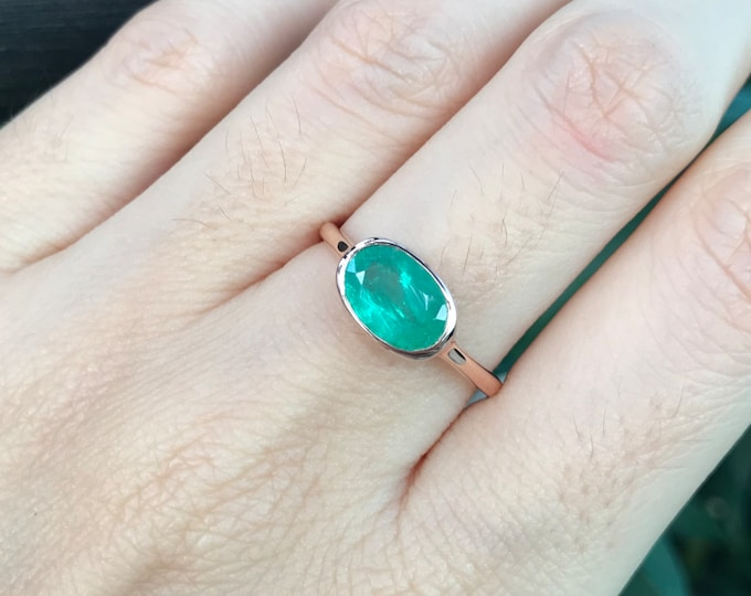 Genuine Emerald Rose Gold Ring- Oval 1.35ct Emerald Minimalist Ring- Simple East West Solitaire Green Ring- May Birthstone Bezel OOAK Ring