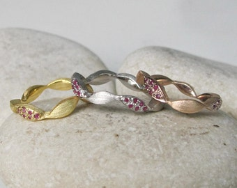 Womens Wedding Band- Rose Gold Band- Unique Wedding Band Ring- Rustic Stackable Bands- Brushed Sterling Silver Bands- Sapphire Ruby Bands