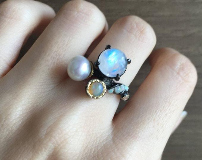 Cluster Gemstone Statement Large Ring- Gothic Punk Black Ring- Moonstone Opal Pearl Ring- Boho Multistone Ring