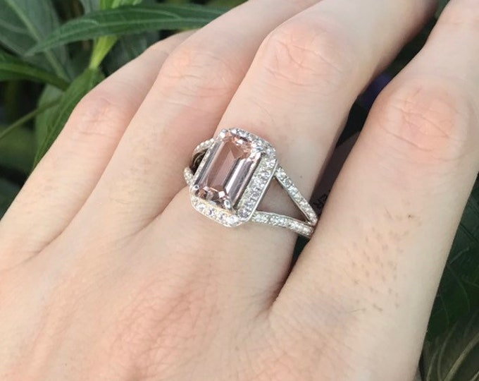 Morganite Genuine Rectangle Halo Engagement Ring- Morganite Emerald Cut Promise Ring for Her- Split Double Band Ring- Pink Stone Silver Ring