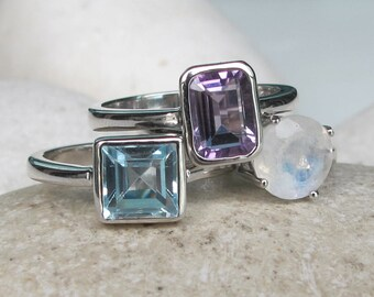 Amethyst Blue Topaz Moonstone Ring- Stackable Gemstone Ring- Family Birthstone Ring- December February June Silver Ring- Statement Ring