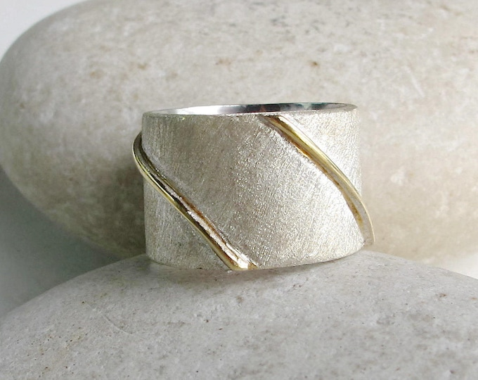 Silver Wide Brutalist Unisex Rustic Band- Minimalist Brushed Cigar Band- Statement Textured Mens Band- Modern Boho Gypsy Band