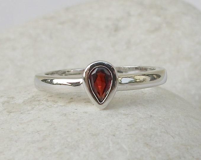 Pear Genuine Garnet Dainty Ring- Dark Red Stackable Ring- Silver Dainty Ring for Teen Child- Teardrop Gemstone Ring- January Birthstone Ring