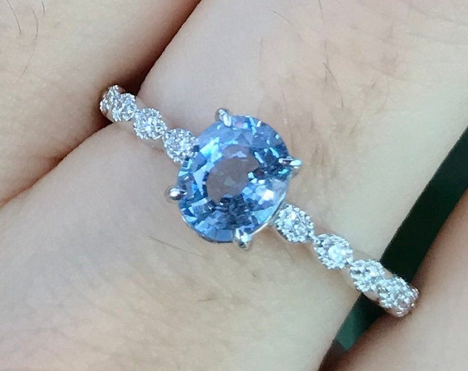 1 Carat Blue Sapphire Oval Engagement White Gold Ring- Genuine Sapphire with Diamond Promise Ring for Her- 4 Prong Anniversary Ring Size 7