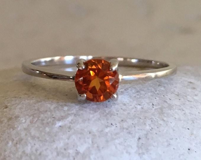 Citrine Dainty Prong Ring- Silver Citrine Stackable Ring- Round Dark Orange Genuine Citrine Ring- November Birthstone Ring-Ring for Teen Kid