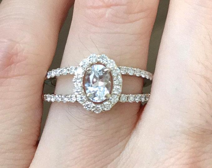 Genuine White Sapphire Halo Engagement Ring- Oval Sapphire Diamond Split Band Ring- Diamond Alternative Colorless Gemstone Engagement Ring