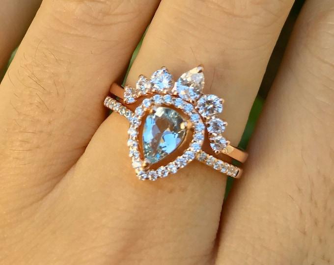Vintage Natural Aquamarine Engagement Ring Set- Teardrop Genuine Aquamarine Bridal Deco Ring- Halo Aquamarine 0.50ct Promise Ring-