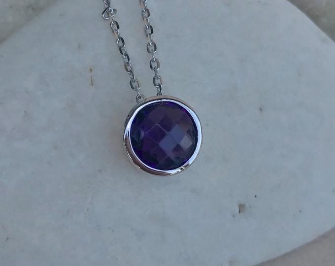 Purple Amethyst Round Sterling Silver Slider Necklace- Dark Purple Amethyst Bezel Necklace