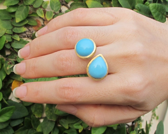 Sleeping Beauty Turquoise Ring- Genuine Blue Turquoise Statement Ring- Adjustable Turquoise 2 Ring- Cab Smooth Large Genuine Turquoise Ring