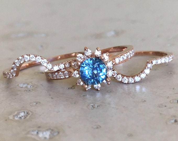 0.80ct Blue Sapphire Diamond Engagement 3 Ring Set- Genuine Sapphire Floral Halo Bridal Ring Set- Round Sapphire Wedding Flower Ring Set