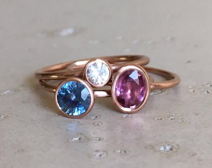 9k Rose Gold Sapphire Ring- Stackable Gemstone Gold Ring- White Blue Purple Pink Sapphire Ring- September Birthstone Ring- Three Ring Set