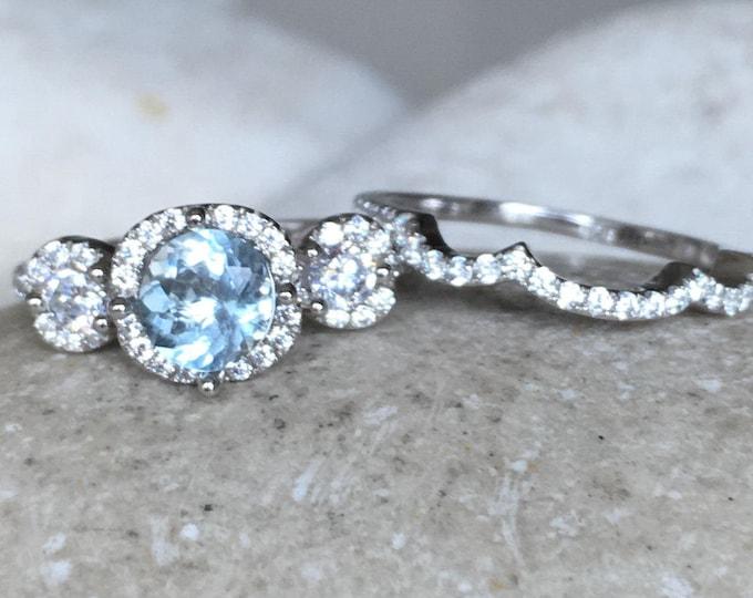 Aquamarine Bridal Set Ring- Aquamarine Engagement Ring- March Birthstone Ring- Three Stone Anniversary Ring- Aquamarine Promise Ring