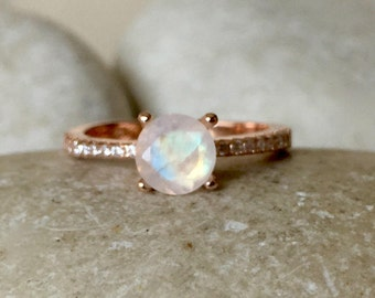 Rose Gold Moonstone Engagement Ring- 4 Prong Promise Ring for her- Rainbow Moonstone Solitaire Ring- June Birthstone Rose Gold Ring