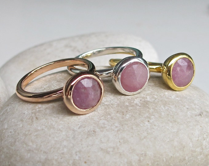 Pink Sapphire Raw Engagement Ring- Round Pink Gemstone Promise Ring for Her- Stackable Pink Simple Round Ring- Rough Stone Raw Minimal Ring