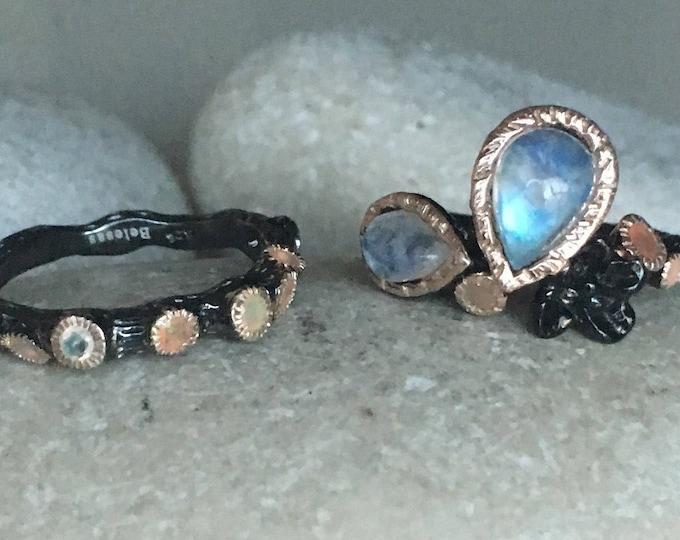 Nature Inspired Engagement Ring Moonstone Opal Ring Set Black Weddding Ring Leaf Twig Branch Nature Ring Unique