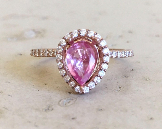 Pink Sapphire Engagement Ring- Rose Gold Engagement Ring- Pink Gemstone Engagement Ring- Tear Drop Promise Ring- Classic Anniversary Ring
