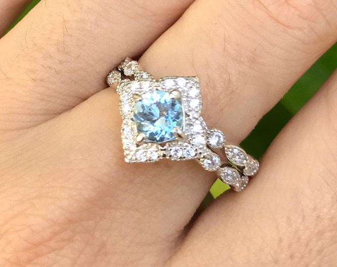 Genuine Aquamarine Vintage 2 Ring Bridal Set Aquamarine Engagement Ring Set Natural Aquamarine Halo Ring w/ Wedding Band