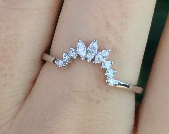Woman Diamond Wedding Curved Band- Marquise Natural Diamond Contour Stacking Deco Band- Genuine Diamond Solid Gold Chevron V Band
