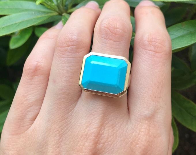 Turquoise Gold Ring- Blue Turquoise Rectangular Statement Ring- Genuine Large Turquoise Minimal Ring- Natural Turquoise Sleeping Beauty Ring