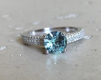 Round Aqua Green Quartz Engagement Ring Alternative Gemstone Engagement Ring 4 Prong Solitaire Blue Stone Ring