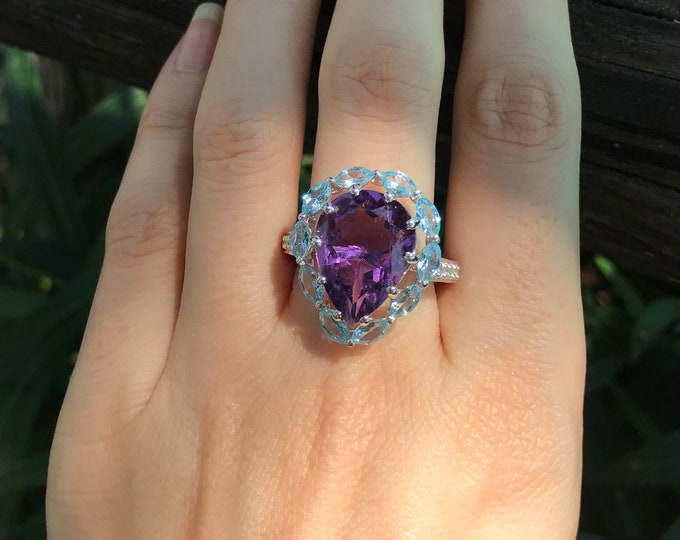 Large Purple Amethyst Teardrop Solitaire Ring- Cluster Halo Amethyst Statement Ring- Unique Bold Purple Anniversary Ring- February Ring