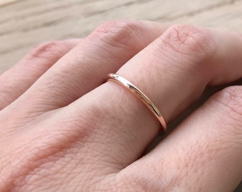 Rose Gold Wedding Band- 14k Rose Gold Band- Womens Wedding Band- Stackable Wedding Band- Simple Wedding Ring